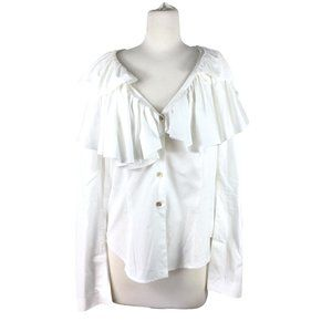 Elm Design White Pima Cotton Ruffled Blouse, Sz 1